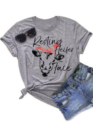 Resting Heifer Face Cow T-Shirt