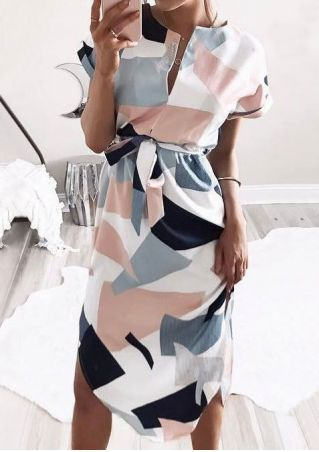 Geometric Deep V-Neck Dress with Belt without Necklace - Multicolor