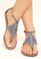 Solid Hollow Out Ankle Strap Flat Sandals