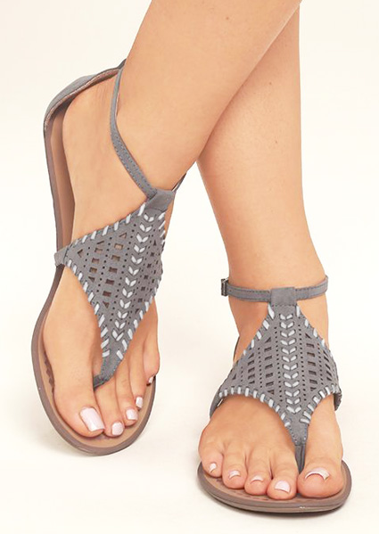 Solid Hollow Out Ankle Strap Flat Sandals фото