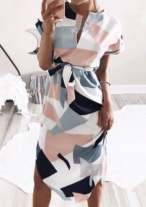 Image of Geometric Deep V-Neck Dress with Belt without Necklace