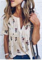 Floral V-Neck Short Sleeve Blouse