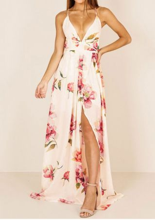 Floral Spaghetti Strap Slit Maxi Dress