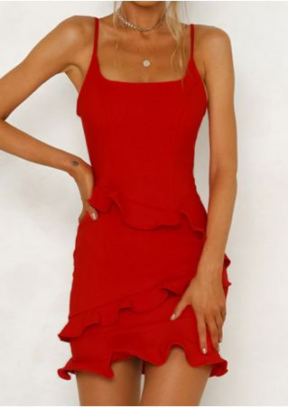 Solid Ruffled Spaghetti Strap Bodycon Dress without Necklace