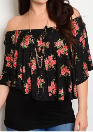 Plus Size Floral Off Shoulder Blouse without Necklace