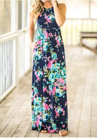 Floral Pocket Sleeveless Maxi Dress - Navy Blue