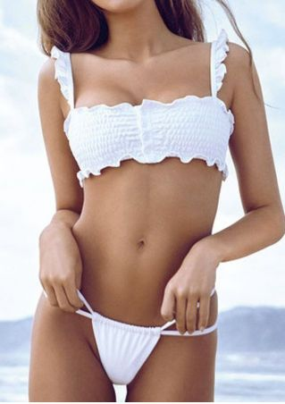 Solid Ruffled Bikini Set