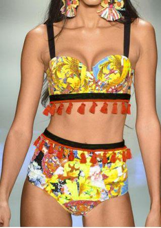 Floral Tassel Splicing Bikini Set