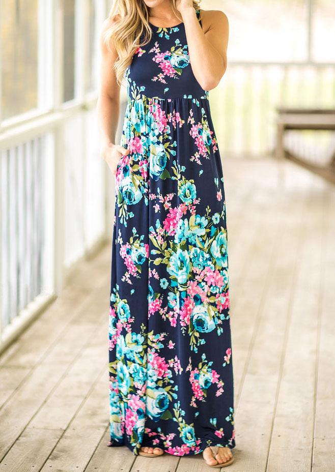 Floral Pocket Sleeveless Maxi Dress - Navy Blue фото