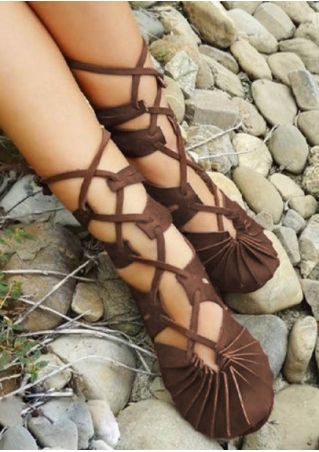 Solid Lace Up Round Toe Flat Sandals