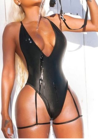Solid Deep V-Neck One-Piece Swimsuit