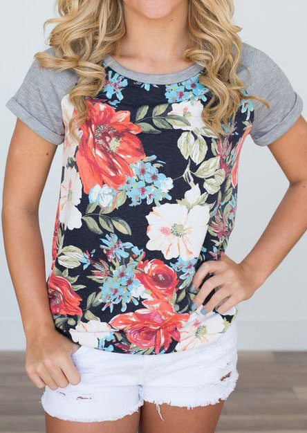 Tees T-shirts Floral Short Sleeve Baseball T-Shirt in Multicolor. Size: S,3XL фото