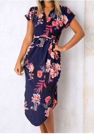 Floral V-Neck Short Sleeve Casual Dress