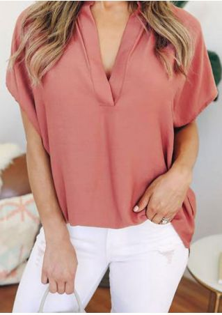 Solid Deep V-Neck Short Sleeve Blouse