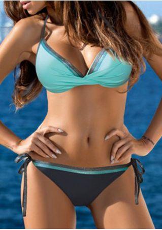 Splicing Ruched Sexy Bikini Set