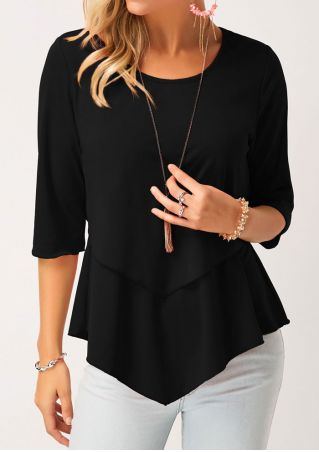 Solid Ruffled O-Neck Blouse without Necklace