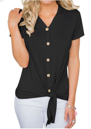 Solid Button Tie Blouse