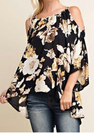 Floral Cold Shoulder Asymmetric Blouse