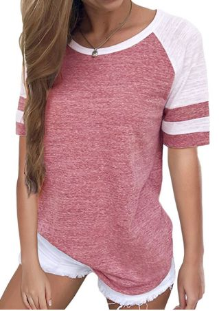 Striped O-Neck Baseball T-Shirt without Necklace