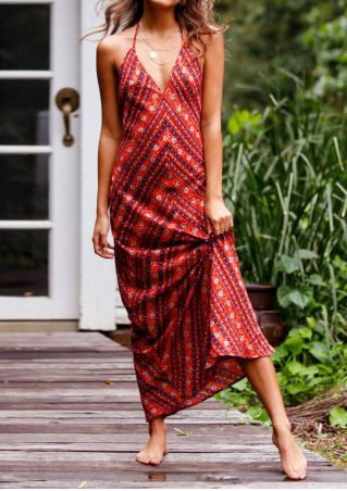 Floral Backless Deep V-Neck Maxi Dress without Necklace