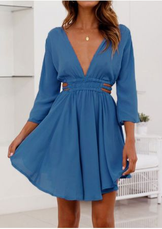 Solid Deep V-Neck Mini Dress without Necklace
