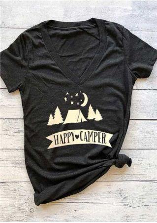 Happy Camper V-Neck T-Shirt
