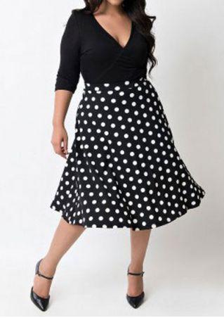 Plus Size Polka Dot Splicing Mini Dress