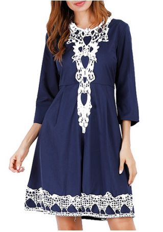 Lace Splicing O-Neck Mini Dress