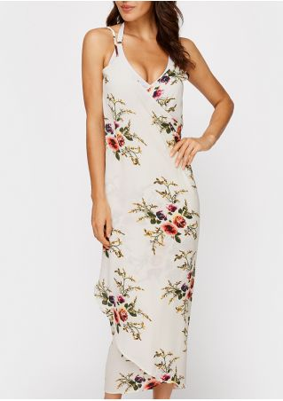 Floral Cross Spaghetti Strap Backless Maxi Dress