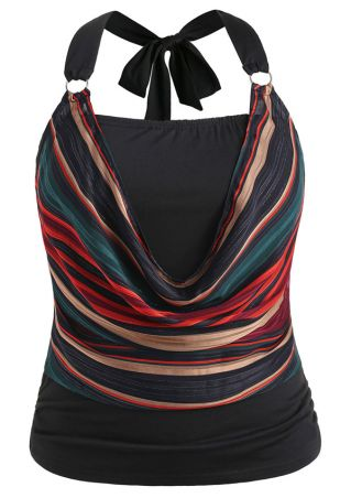 Plus Size Striped Draped Halter Tank