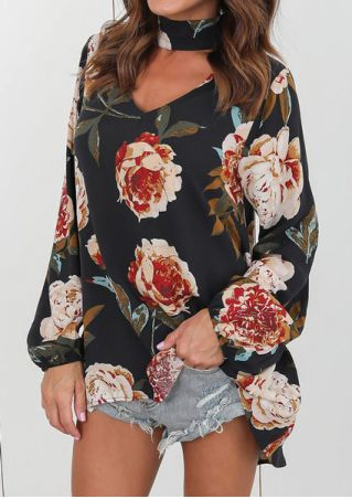 Floral V-Neck Long Sleeve Blouse
