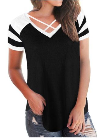 Striped Criss-Cross V-Neck Blouse