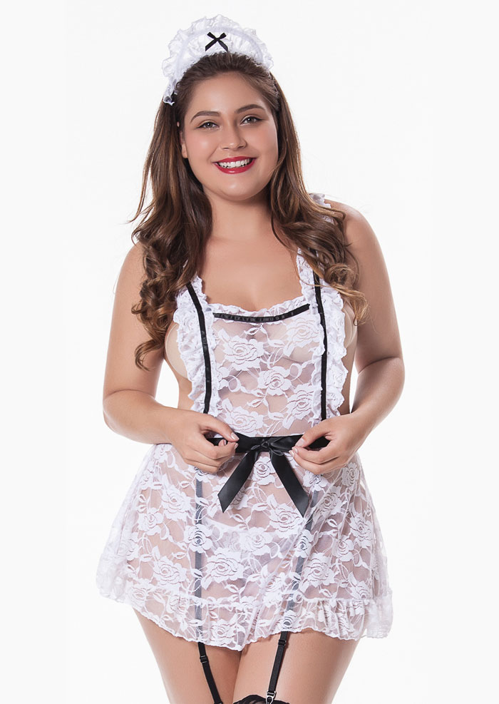 Image of Plus Size Lace Splicing Sexy Lingerie Set with Hair Accessory