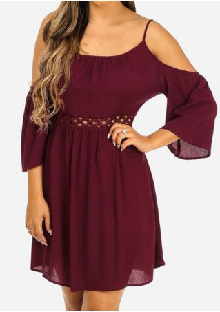 Solid Cold Shoulder Hollow Out Mini Dress