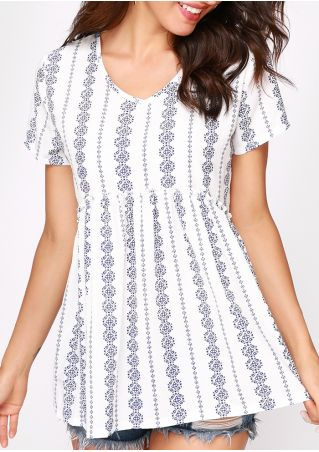 Printed V-Neck Short Sleeve Blouse