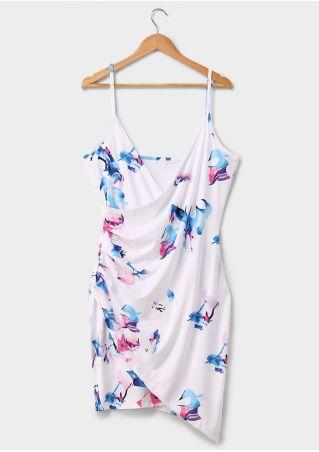 Printed Wrap Deep V-Neck Mini Dress