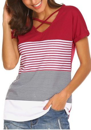 Striped Criss-Cross V-Neck T-Shirt