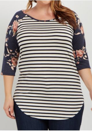 Plus Size Floral Striped Baseball T-Shirt