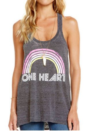 One Heart Rainbow Tank without Necklace