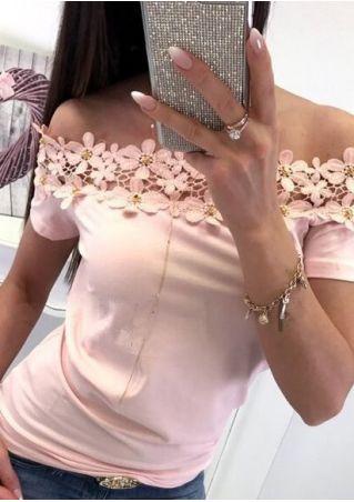 Solid Lace Floral Off Shoulder Blouse