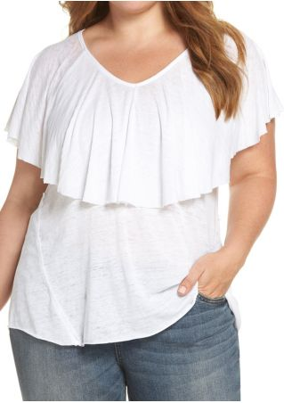 Plus Size Solid Layered V-Neck Blouse