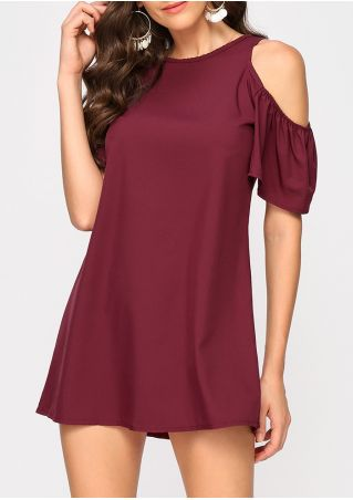 Solid Cold Shoulder Mini Dress