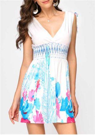 Floral Deep V-Neck Backless Mini Dress without Necklace