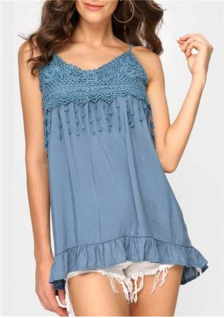 Solid Lace Floral Frill Camisole