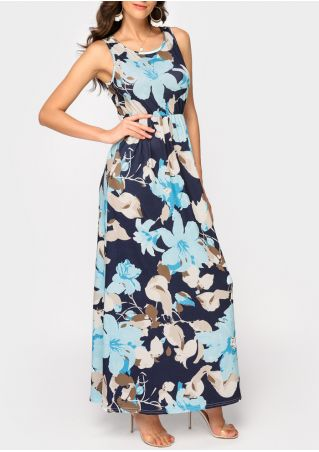 Floral Sleeveless Maxi Dress without Necklace