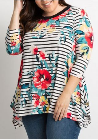 Plus Size Floral Striped Asymmetric Blouse
