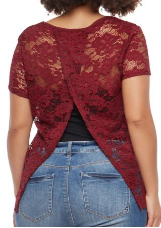 Plus Size Solid Lace Floral Blouse