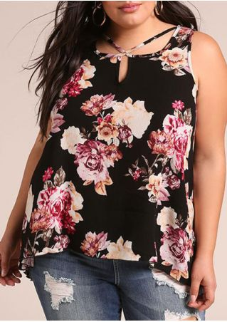 Plus Size Floral Criss-Cross Tank