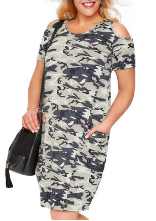 Plus Size Camouflage Printed Cold Shoulder Casual Dress