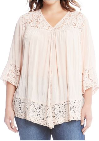 Plus Size Solid Lace Floral Splicing Blouse
